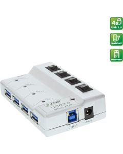 USB HUB 4 Port USB 3.0 Netzteil/Schalter
